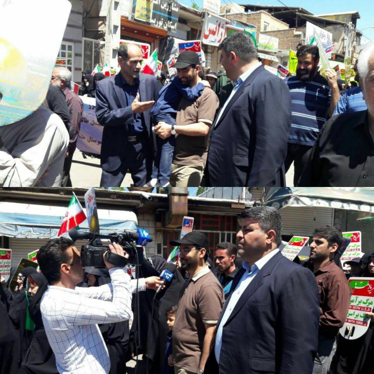 حضور وزیر ارتباطات با آستین کوتاه و کلاه آفتابی در راهپیمایی روز قدس