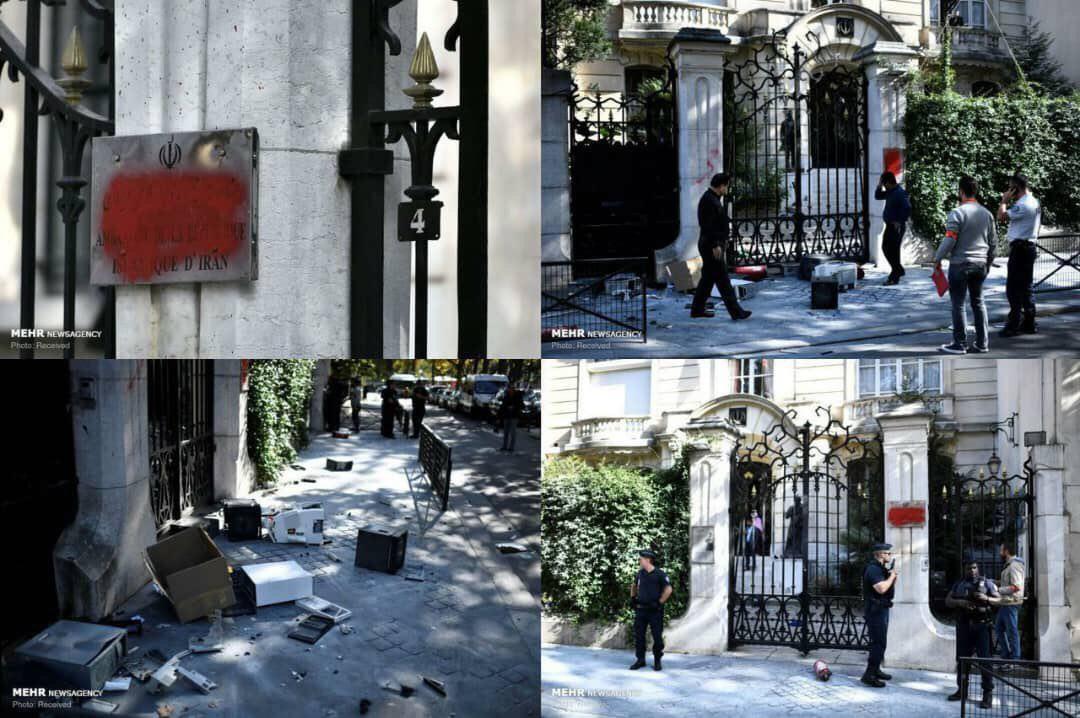 تصویری از حمله اعضای یک گروهک به سفارت ایران در پاریس