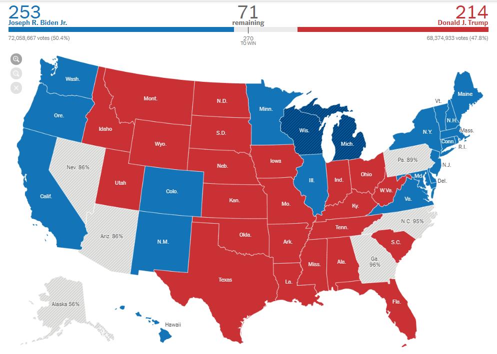 انتخابات ترامپ و بایدن نقشه نیویورکتایمز