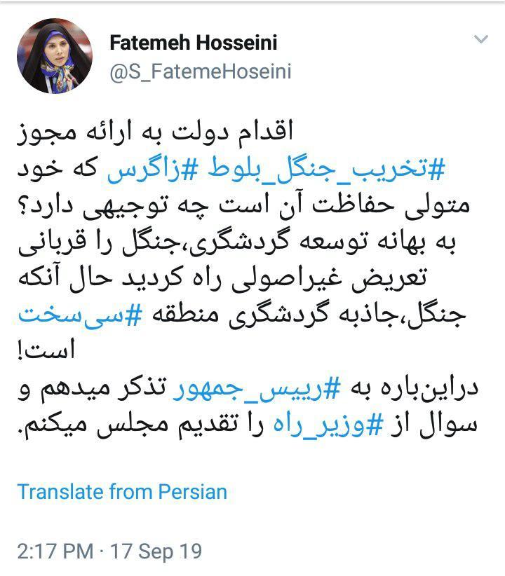 توئیت فاطمه حسینی