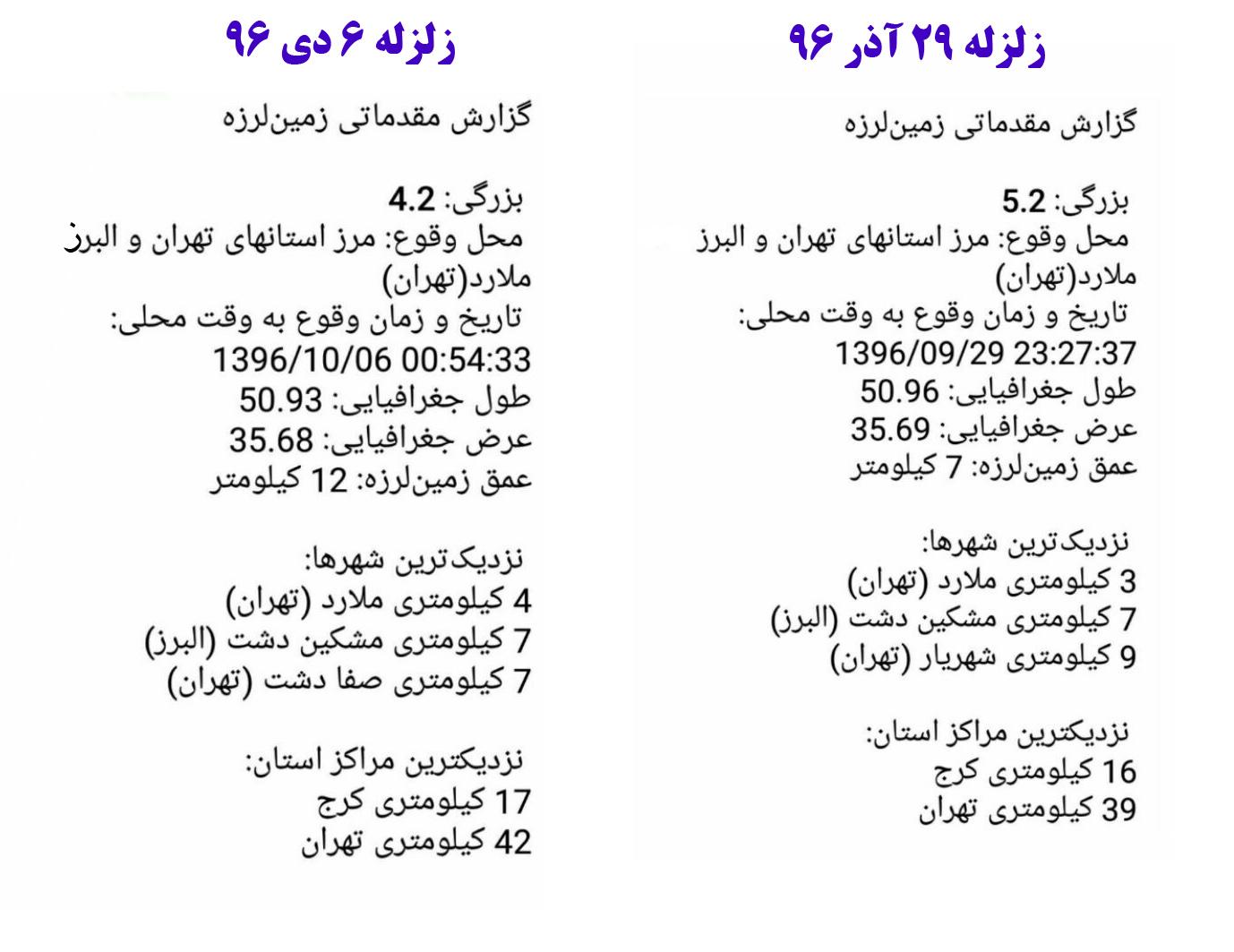 جدول مقایسه دو زلزله 29 آذر و 6 دی