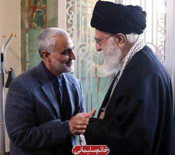 لبخند رهبر انقلاب و حاج قاسم سلیمانی در تصویری متفاوت+ عکس