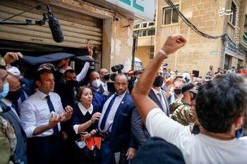 تصاویر ویژه و امنیتی امانوئل مکرون در محل انفجار بزرگ بیروت