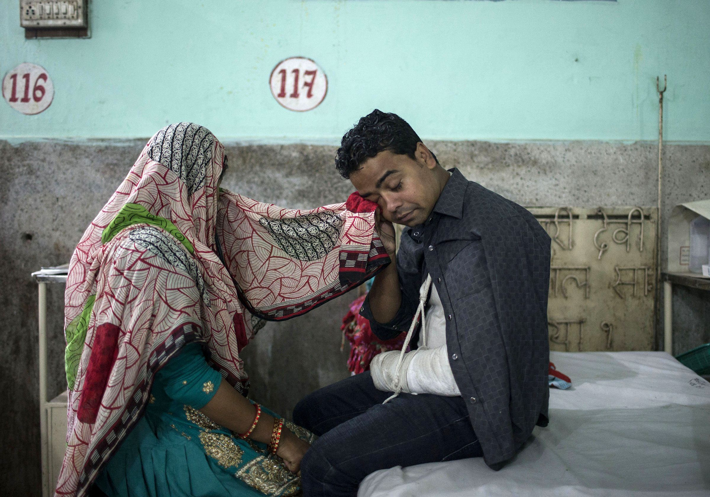 Storm survivors receive medical attention at Narayani Sub-Regional Hospital in Parsa district, Nepal, on April 2. More than two dozen people were killed and hundreds more were injured during a large storm that swept through the area.