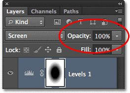 The Opacity option in the Layers panel. Image © 2012 Photoshop Essentials.com