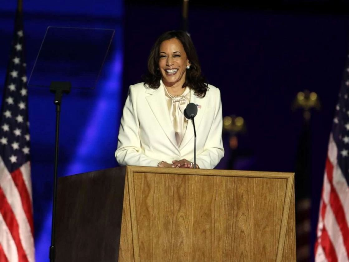 Kamala Harris standing in a room: Vice President-elect Kamala Harris addresses the nation from the Chase Center, Nov. 07, 2020, in Wilmington, Del.