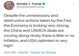حمله دوباره ترامپ به فدرال رزرو از جبهه توییتر