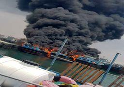 5 لنج باری ایران در آتش سوخت + فیلم