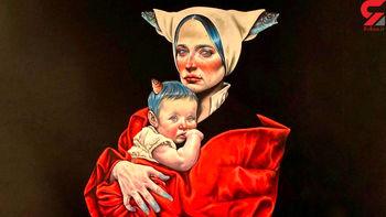 تصویری از نقاشی عجیب از نگار جواهریان و دخترش