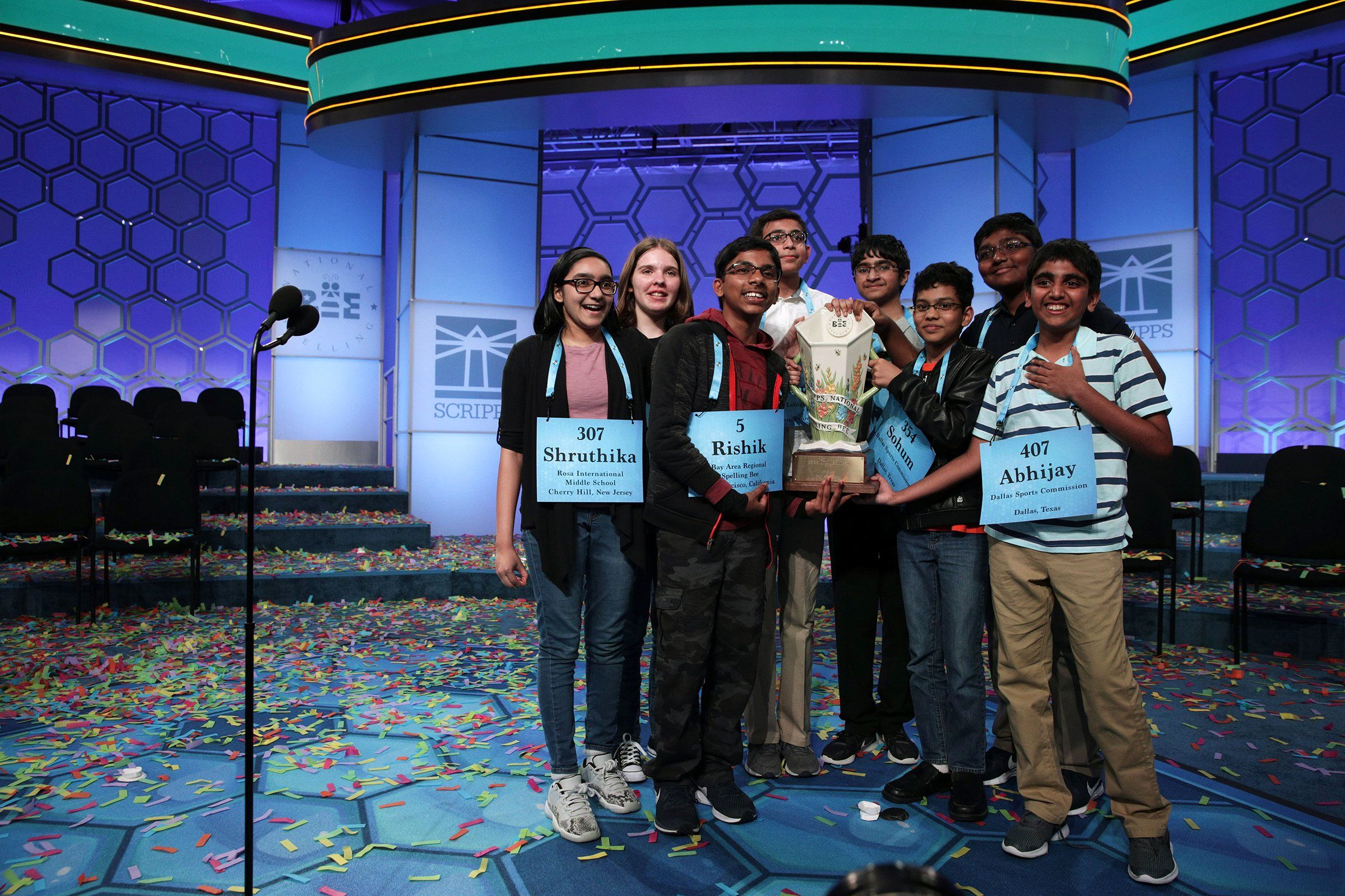 History was made at the Scripps National Spelling Bee in May. Eight winners—the event's most co-champions ever—hold the trophy after 20 rounds of competition.