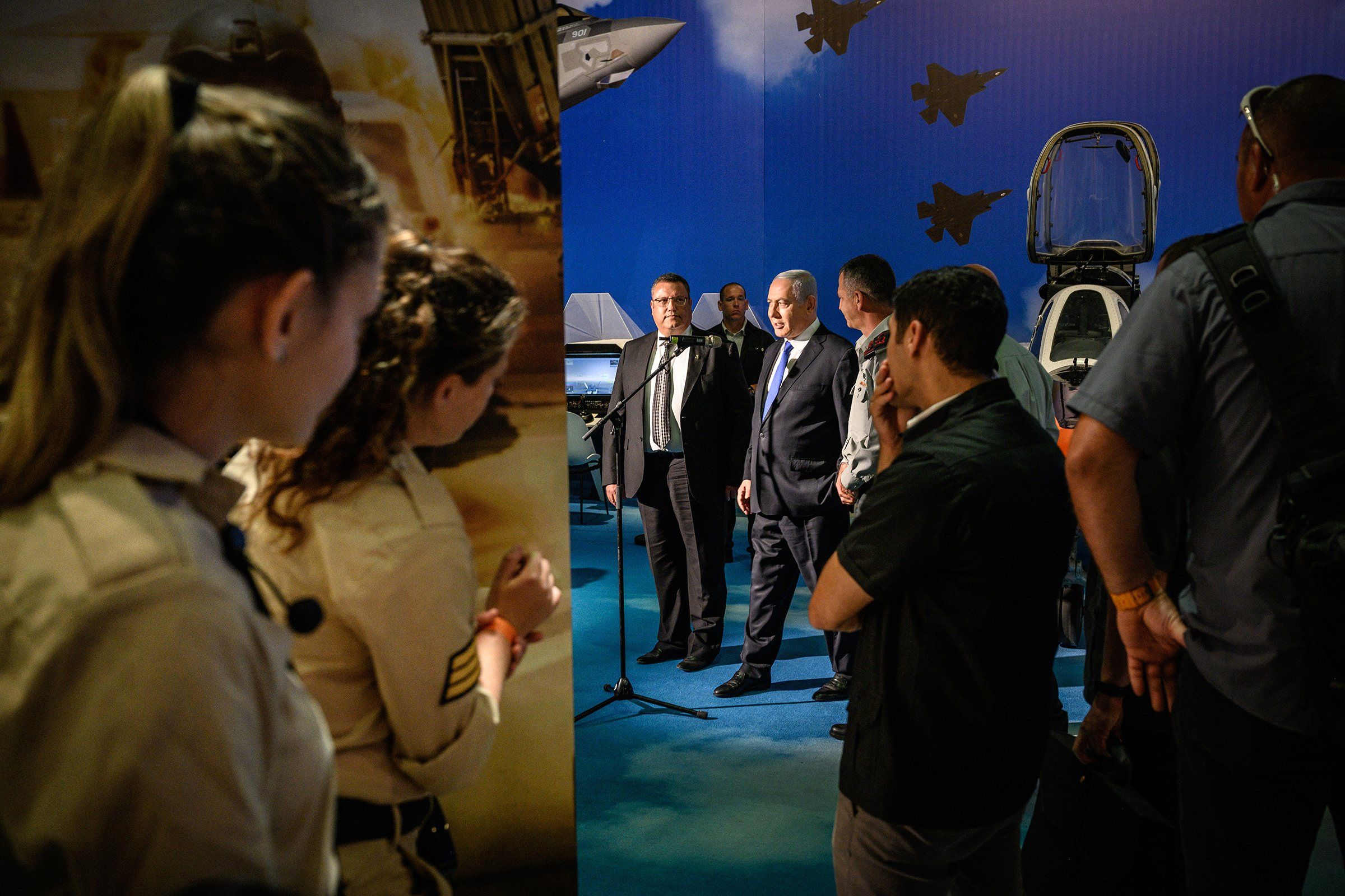 Israeli Prime Minister Benjamin Netanyahu opens an exhibit on the Israel Defense Forces, a driver behind the nation's booming tech sector, in Jerusalem on June 25.