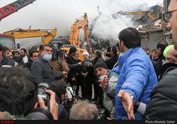 حضور رئیس جمهوری در محل حادثه پلاسکو