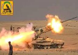 حمله موشکی و توپخانهای «الحشد الشعبی» به مواضع داعش در خاک سوریه + عکس