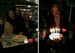 جشن تولد ایرج طهماسب در کنار همسر و دخترش + عکس