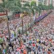 سیل جمعیت بازارسهام هنگکنگ را تعطیل کردد