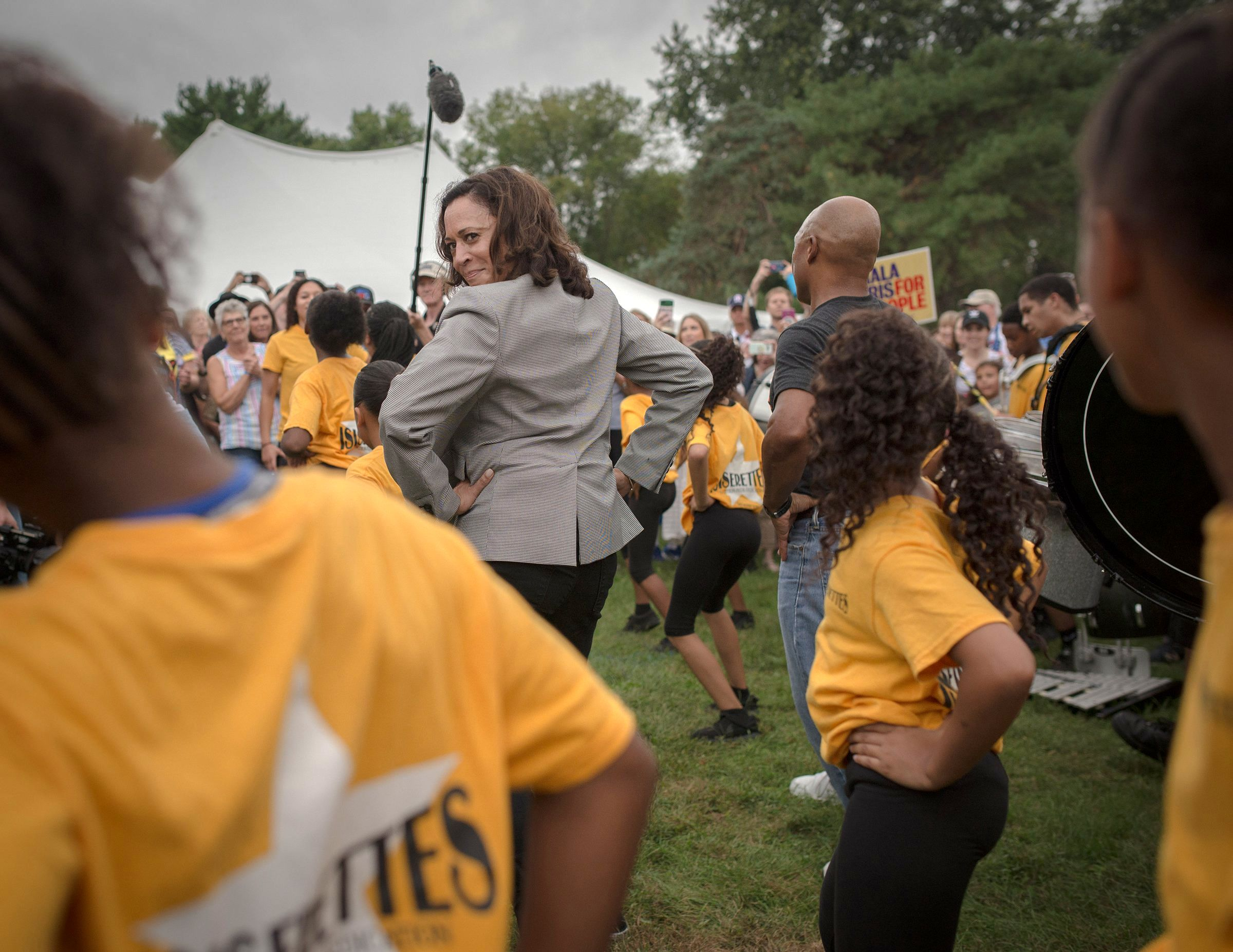 Kamala Harris takes a cue from a local drill team at the Des Moines Steakfry on Sept. 21. Once a promising presidential hopeful, the California Senator announced she was dropping out of the 2020 presidential race in early December.