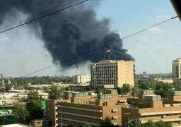 آتش سوزی سفارت آمریکا در عراق+عکس