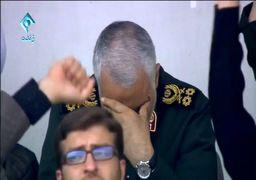 اشکهای سردار سلیمانی هنگام سخنرانی رهبر انقلاب + فیلم