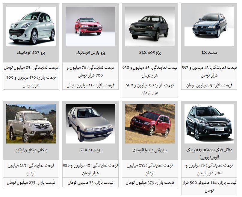 جدیدترین قیمت خودروهای داخلی در آغاز هفته (۱۸ اسفند ۹۷)