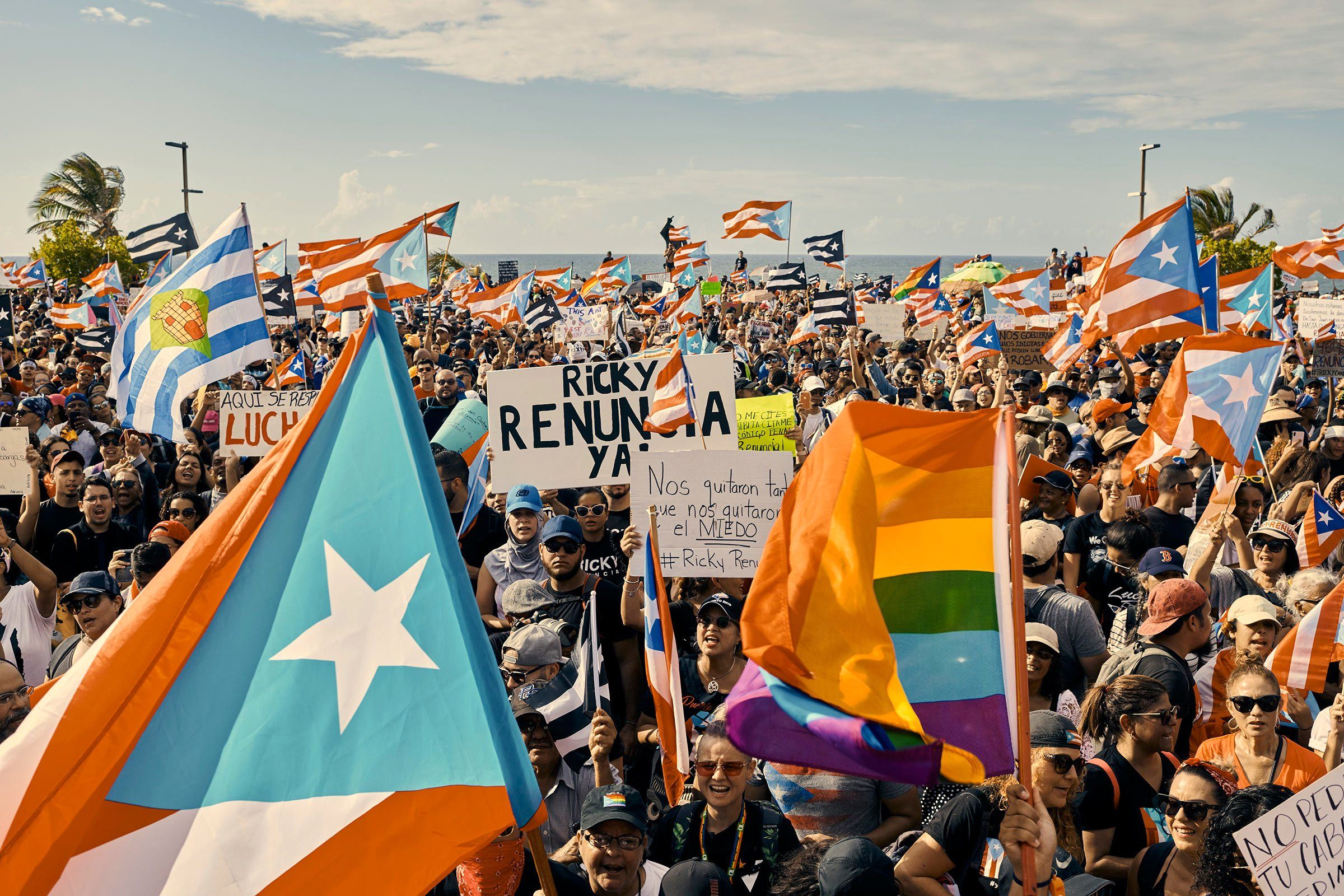 Protesters demanding #RickyRenuncia—a hashtagged demand for the governor's resignation—took to the streets of San Juan, Puerto Rico, on July 17. Gov. Ricardo Rosselló later announced he would resign in August, after the biggest protests to seize the U.S. territory in decades.