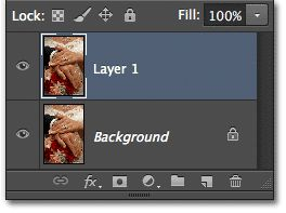 The Layers panel showing Layer 1 above the Background layer. Image © 2012 Photoshop Essentials.com