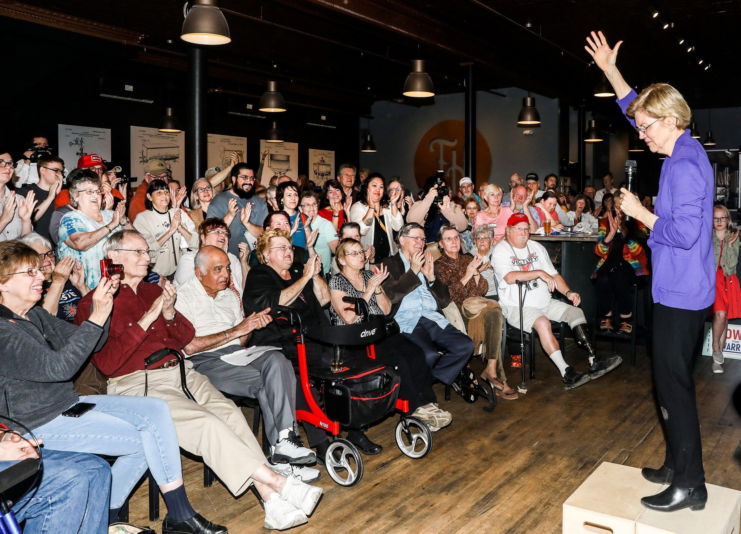 Democratic presidential candidate Sen. Elizabeth Warren holds a meet and greet with Iowa voters at a Mason City brewery on May 4.