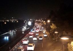 گزارش معابر تهران پس از زلزله/ بزرگراه امام علی (ع) غرق در ترافیک