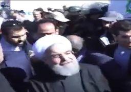 فیلم حضور روحانی در میان مردم زلزله زده کرمانشاه